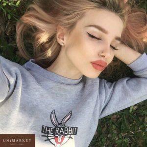 Женский свитшот теплый на флисе цвета меланж купить недорого