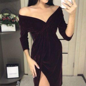 Заказать женское платье бархатное королевское цвета бордо оптом Украина