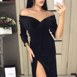 Заказать женское черное платье бархатное королевское недорого