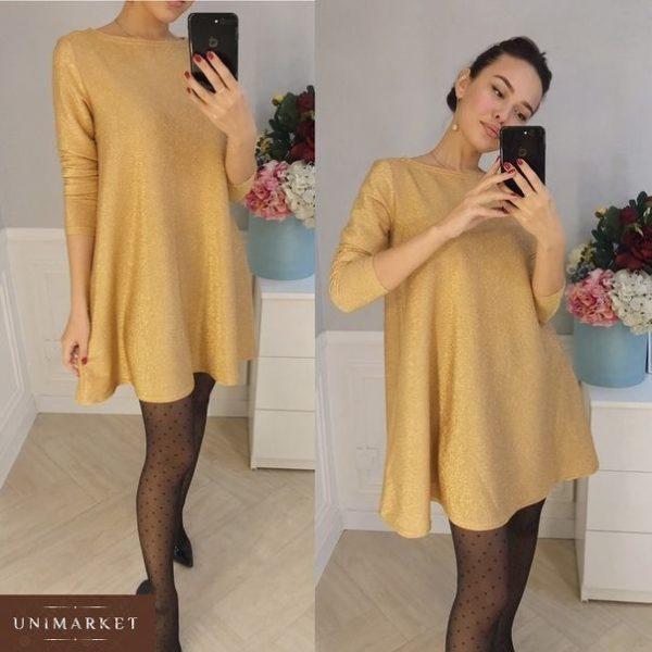 Заказать женское короткое платье из люрекса золотого цвета недорого