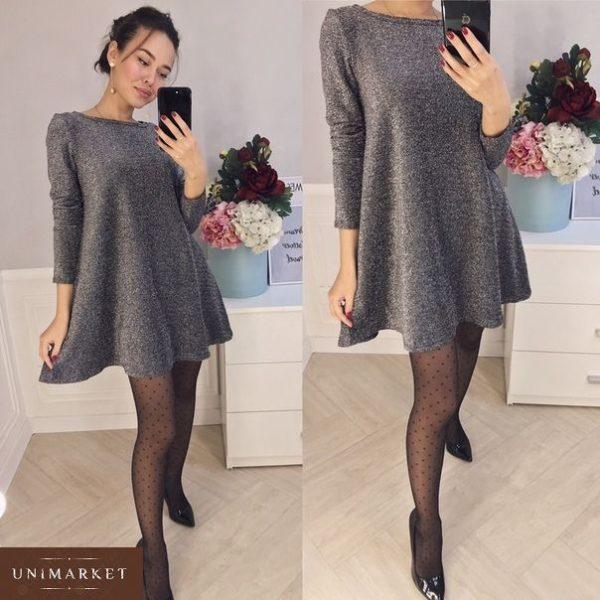 Приобрести женское короткое платье из люрекса цвета серебра дешево