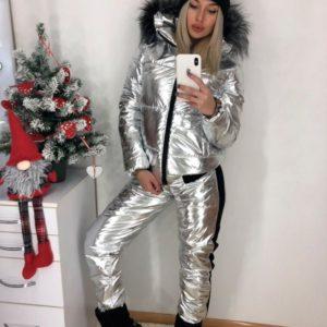 Купить женский лыжный костюм анти дождь цвета металлик дешево