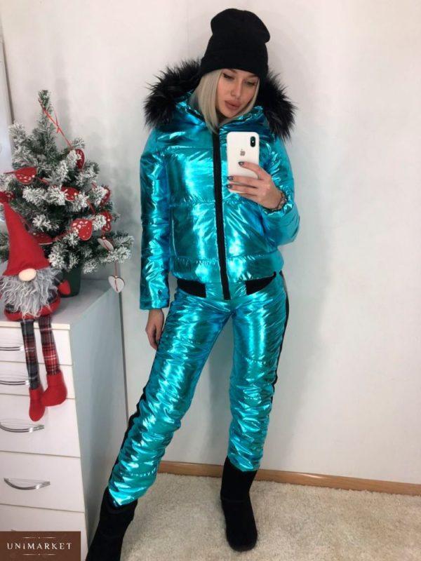 Заказать женский лыжный костюм анти дождь в подарок цвета электрик недорого