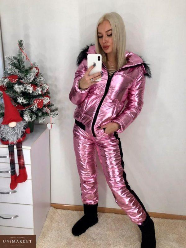 Приобрести женский лыжный костюм анти дождь розового цвета недорого