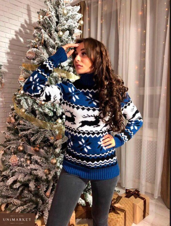 Купить женский свитер с оленями теплый синего цвета дешево