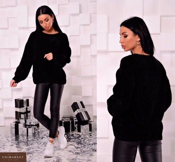 Приобрести женский свитер из велюра черного цвета недорого