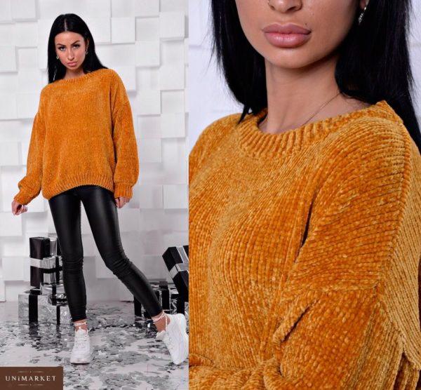 Заказать женский свитер из велюра цвета горчицы дешево