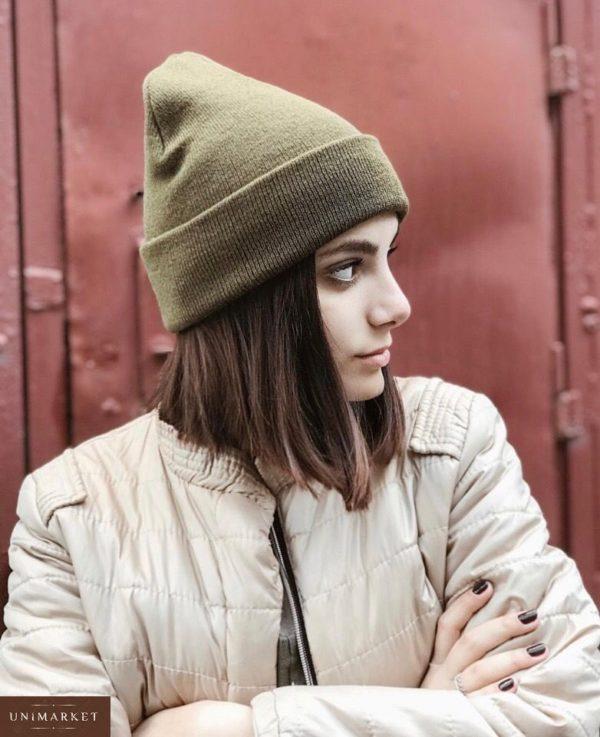 Заказать женскую удлинённую вязаную шапку цвета хаки недорого Украина