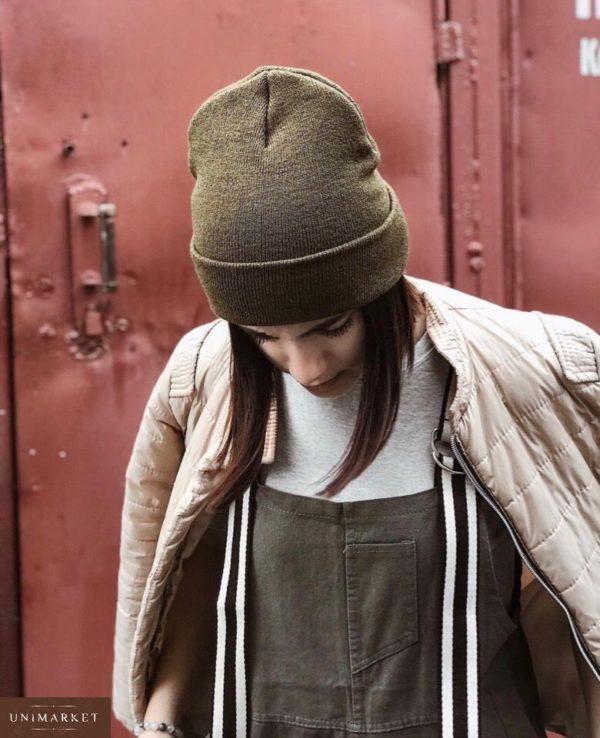 Купить женскую вязаную удлинённую шапку в подарок цвета хаки