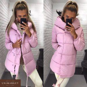 Купить в интернет-магазине женскую куртку матовую на синтепоне розового цвета