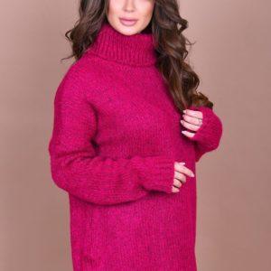 Заказать женский свитер с большим воротником цвета фуксии большого размера оптом Украина