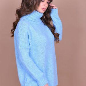 Женский свитер с большим воротником голубого цвета большого размера купить недорого