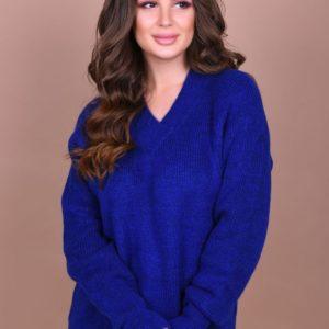 Купить женский свитер с длинным рукавом цвета электрик больших размеров на праздник оптом