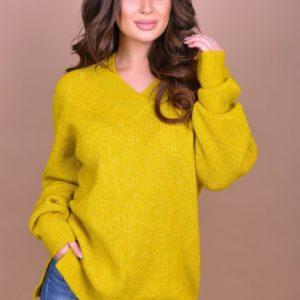 Купить женский свитер с длинным рукавом больших размеров фисташкового цвета дешево