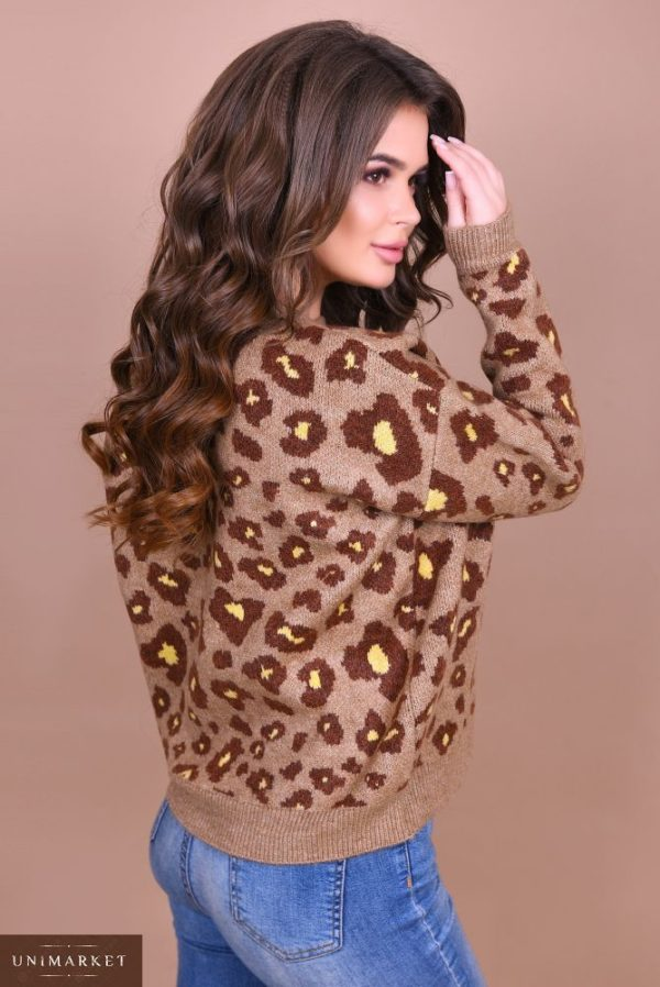 Заказать женский свитер с леопардовым принтом бежевого цвета недорого