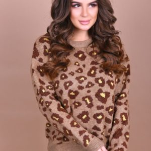 Купить женский свитер с леопардовым принтом в подарок бежевого цвета