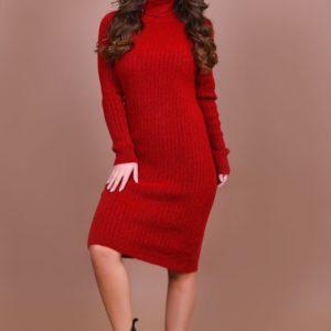Заказать красное женское платье миди с воротником оптом Украина