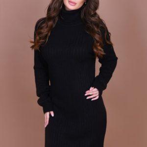 Приобрести женское чёрное платье миди с воротником недорого