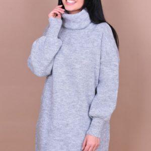 Заказать большую женскую тунику с длинными рукавами серого цвета дешево