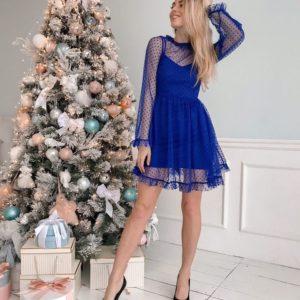 Женское платье-костюм в горошек цвета электрик купить недорого