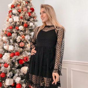 Заказать женское платье-костюм в горошек черного цвета