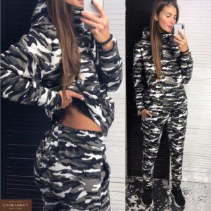 Купить женский спортивный костюм с капюшоном цвета милитари дешево
