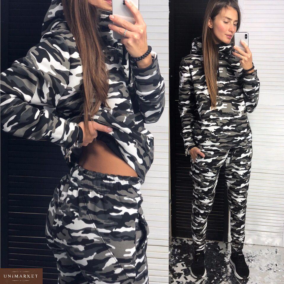 bfa9a24fa230 Купить женский спортивный костюм с капюшоном цвета милитари дешево