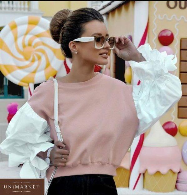 Приобрести женский свитшот с пышными рукавами цвета розовой пудры дешево