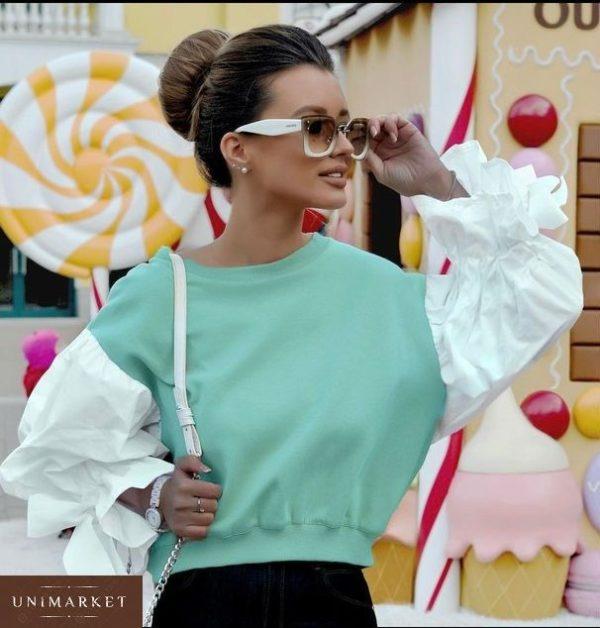 Заказать женский свитшот с пышными рукавами мятного цвета недорого