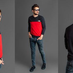 Купить Батник мужской черный с красным дешево в интернете турецкая двунитка