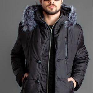 купить теплую черную мужскую куртку-пальто водостойкую дешево