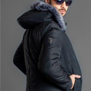 Заказать мужскую куртку-пальто теплую с термо в интернете черный цвет