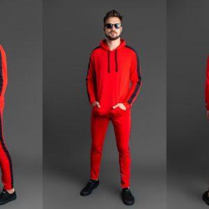 купить мужской красный Спортивный костюм с лампасами недорого