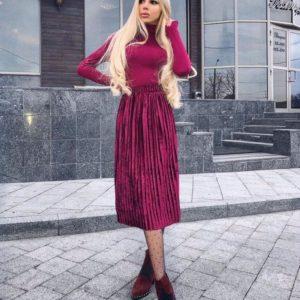 Купить юбку плиссе миди женскую малинового цвета дешево в интернете