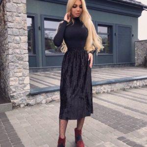 Заказать черную женскую юбку плиссе миди оптом со скидкой