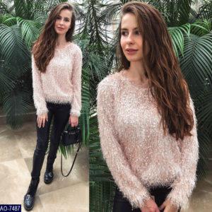 Купить персиковый женский пушистый свитер травка