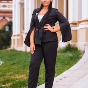 Заказать женский костюм двойку большых размеров черного цвета недорого
