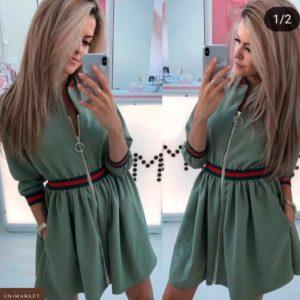 Купить женское платье на молнии цвета хаки оптом Украина