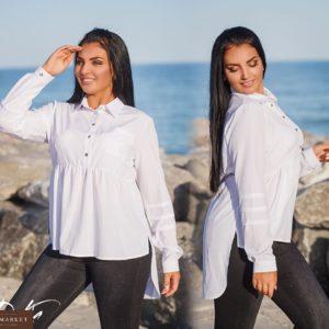 Купить женскую стильную рубашку тунику дешево белого цвета