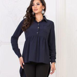 Приобрести женскую стильную рубашку тунику синего цвета недорого