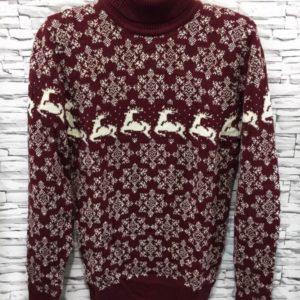 Заказать мужской свитер с отворотом и оленями бордового цвета дешево