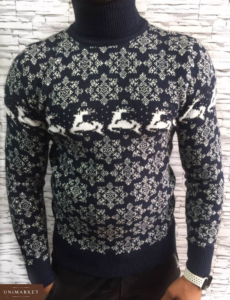 f4a0e94ef03c0 Заказать мужской свитер теплый с оленями и отворотом в подарок темно-синего  цвета недорого