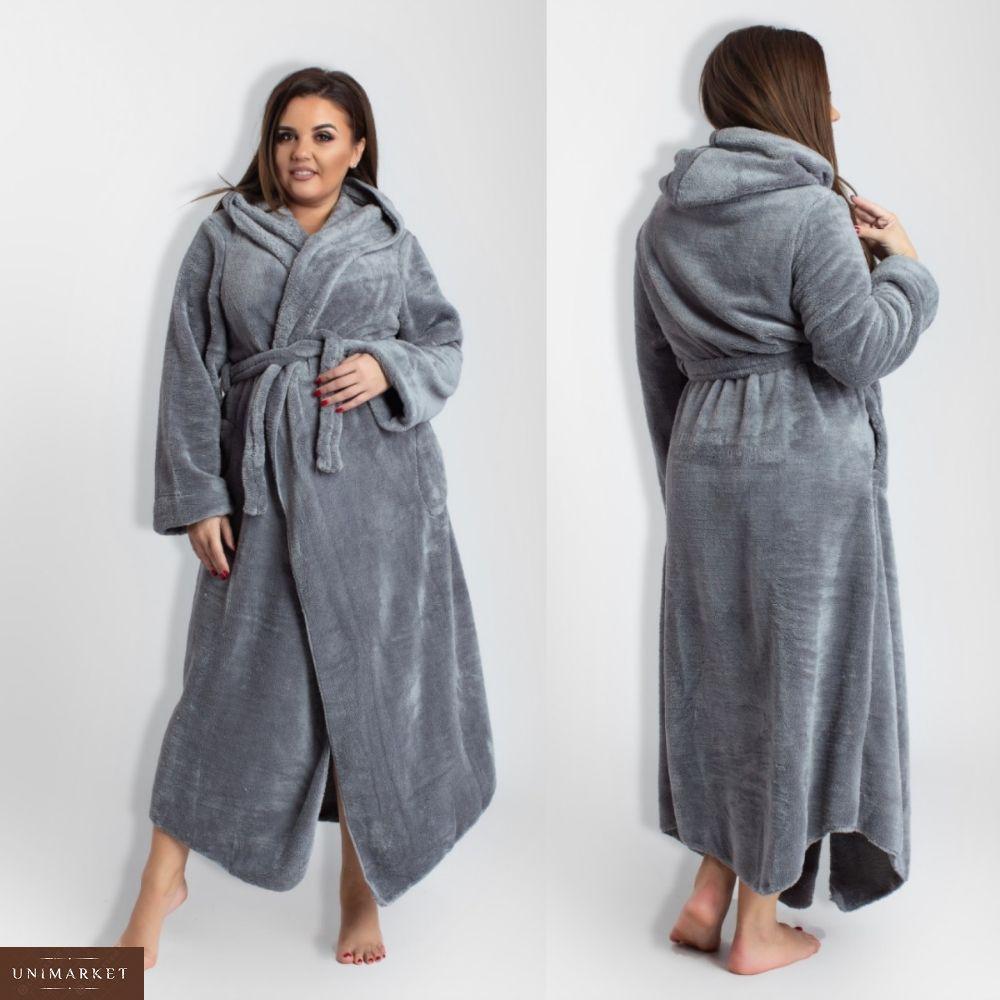 c21e93f1b4248 Женский Длинный махровый халат больших размеров (размер 50-56 ...