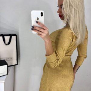 Купить женское платье с люрексом на запах цвета золота оптом Украина