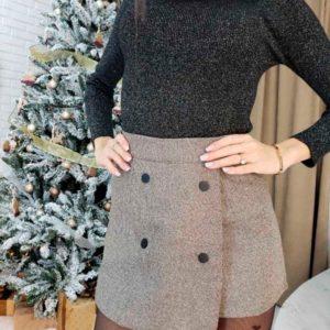 Заказать женскую юбку-шорты из твида коричневого цвета недорого Украина