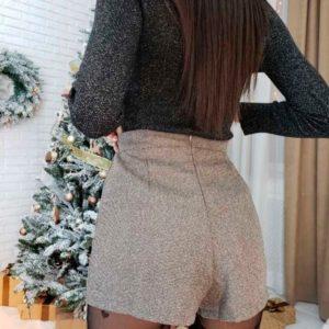 Купить в интернет-магазине женскую юбку-шорты из твида коричневого цвета дешево
