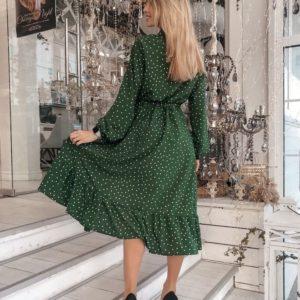 Приобрести женское платье в горошек с разрезом зеленого цвета недорого