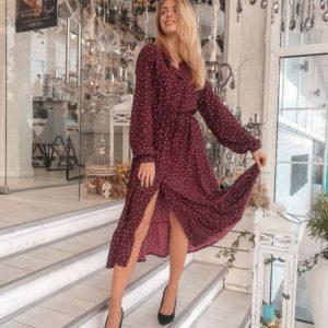 Заказать женское платье в горошек с разрезом бордового цвета оптом Украина