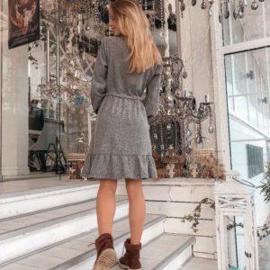 Купить женское платье из байка серого цвета оптом Украина