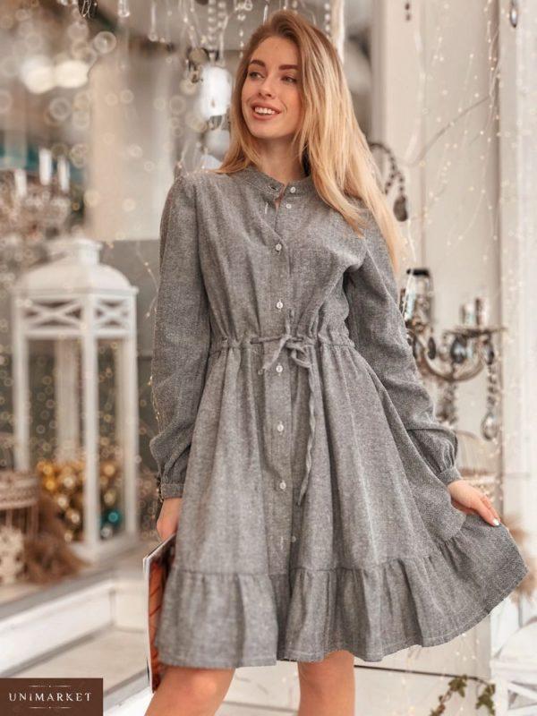 Купить женское платье из байка серого цвета дешево